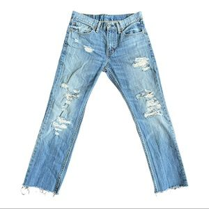 Levi's 511 jeans distressed destroyed holes frayed light wash straight leg 31